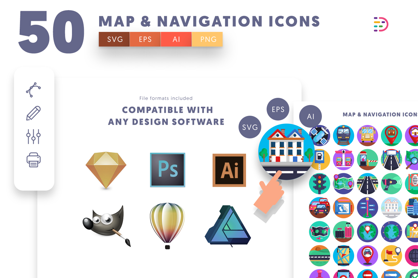 Compatible 50 Map & Navigation Icons pack