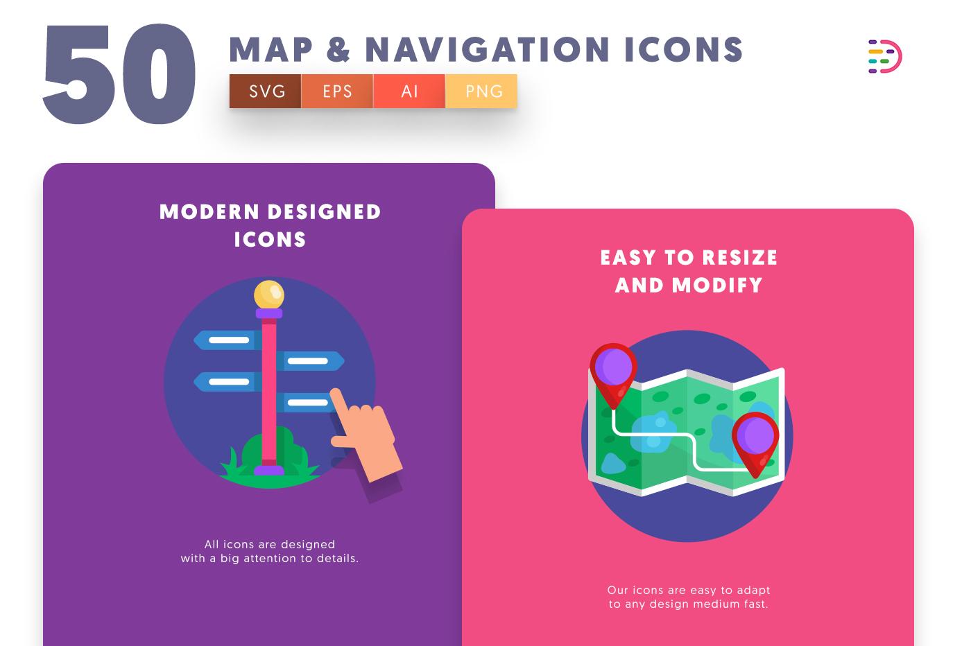Drag and drop vector 50 Map & Navigation Icons