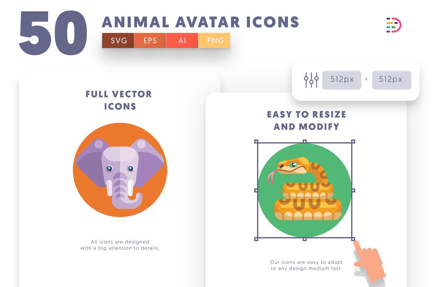 Full vector 50 Animal Avatar Icons