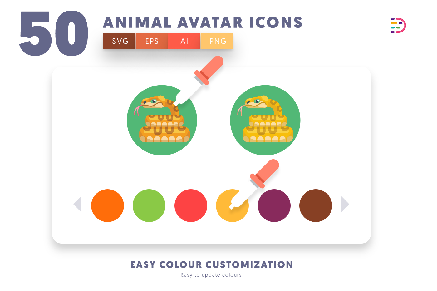 Customizable and vector 50 Animal Avatar Icons