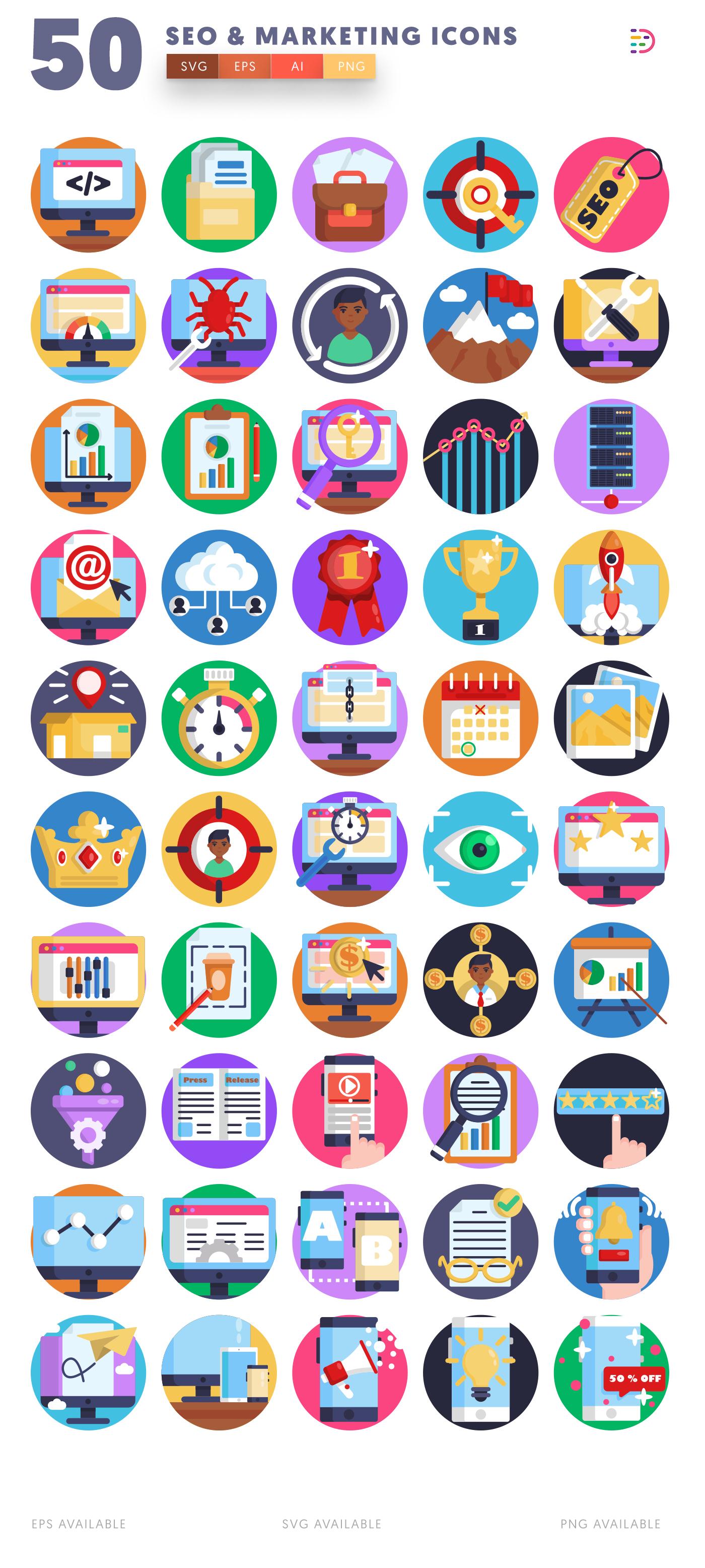 50 Seo & Marketing Icons list