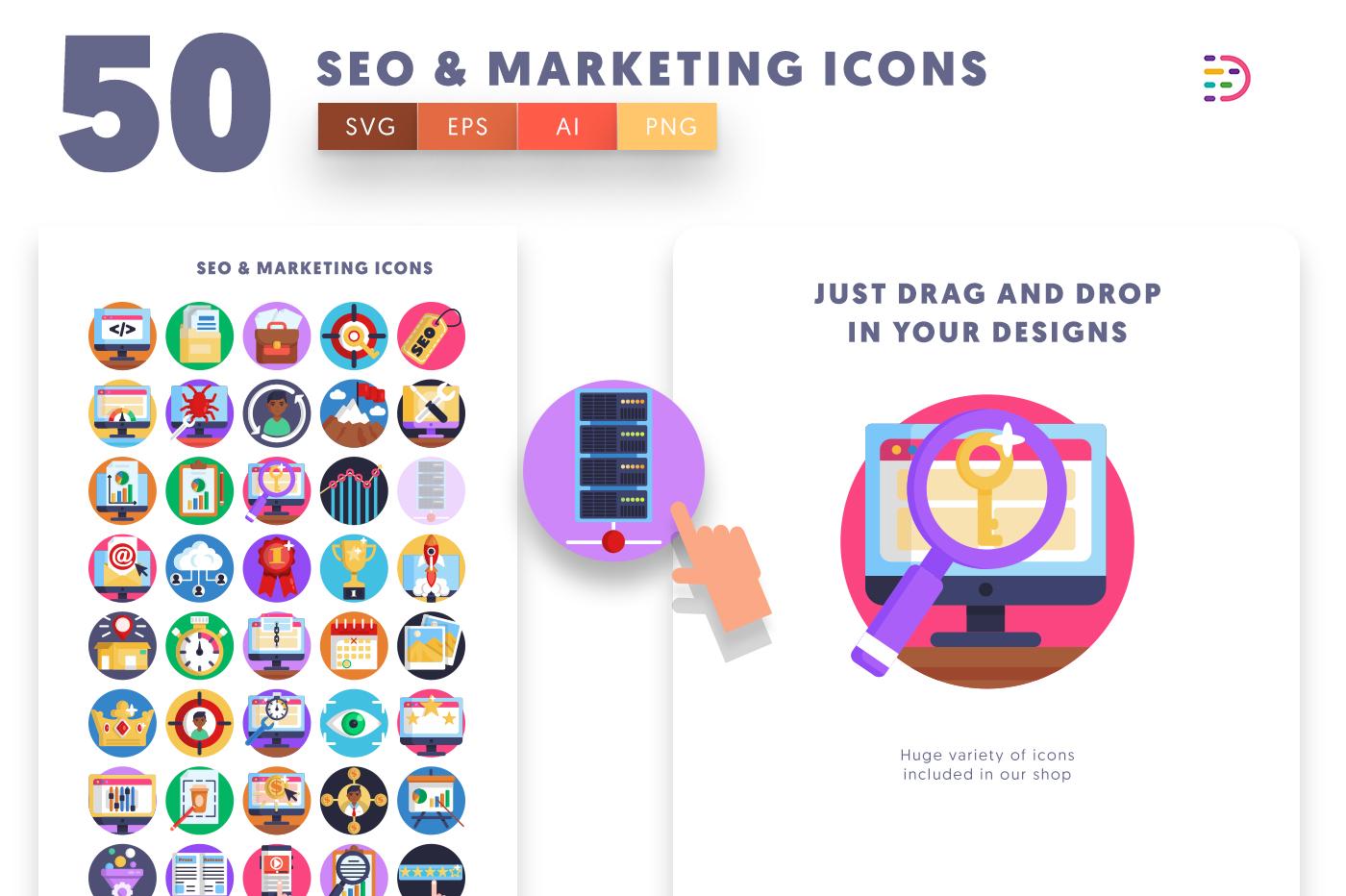 Drag and drop vector 50 Seo & Marketing Icons