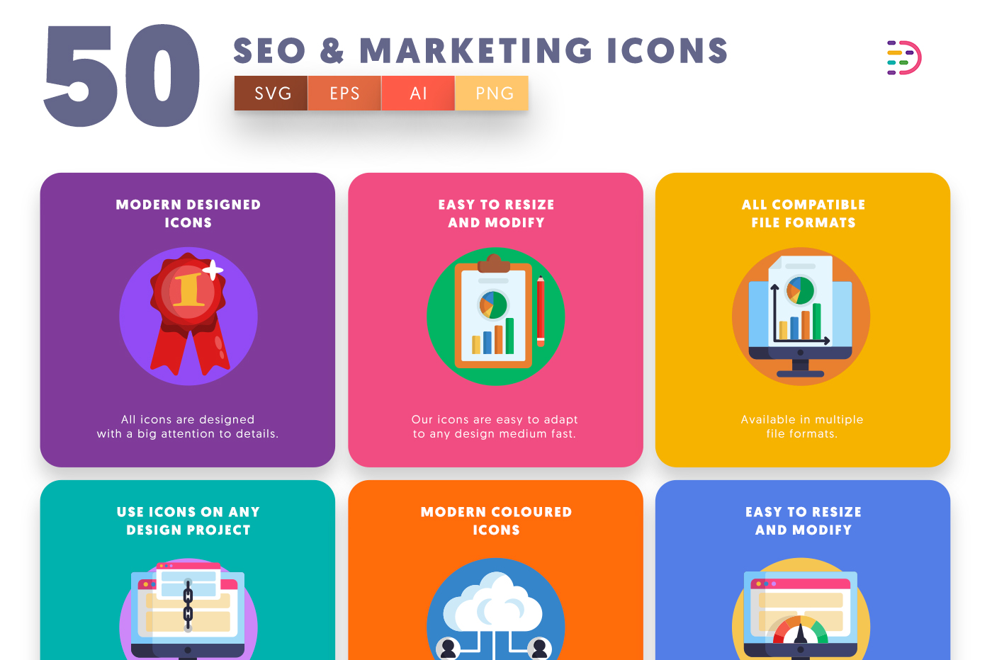 50 Seo & Marketing Icons with colored backgrounds