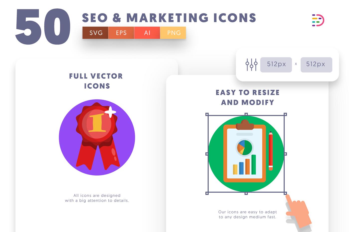 Full vector 50 Seo & Marketing Icons