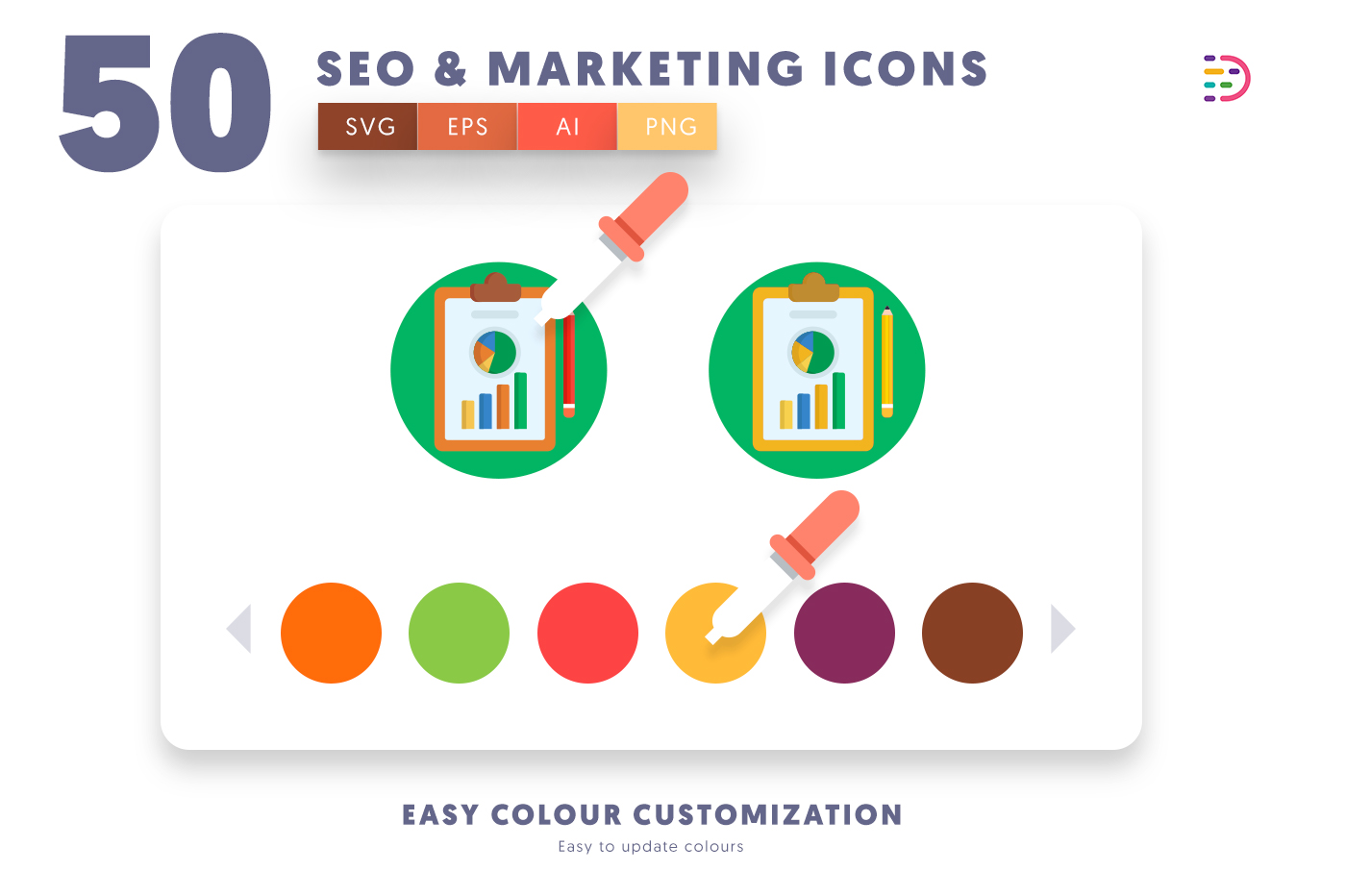 Customizable and vector 50 Seo & Marketing Icons