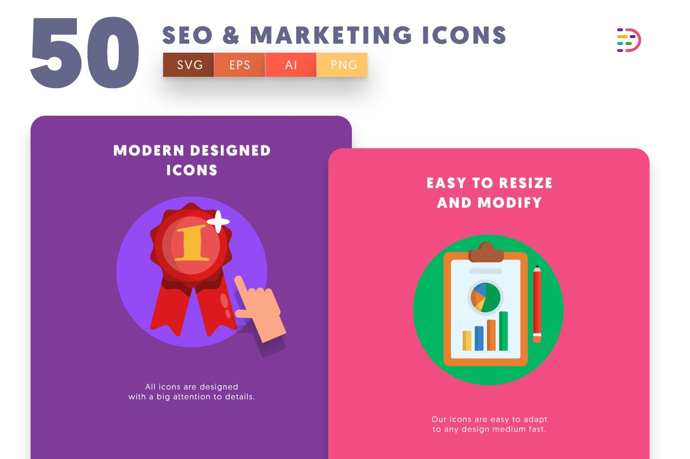 Design ready 50 Seo & Marketing Icons