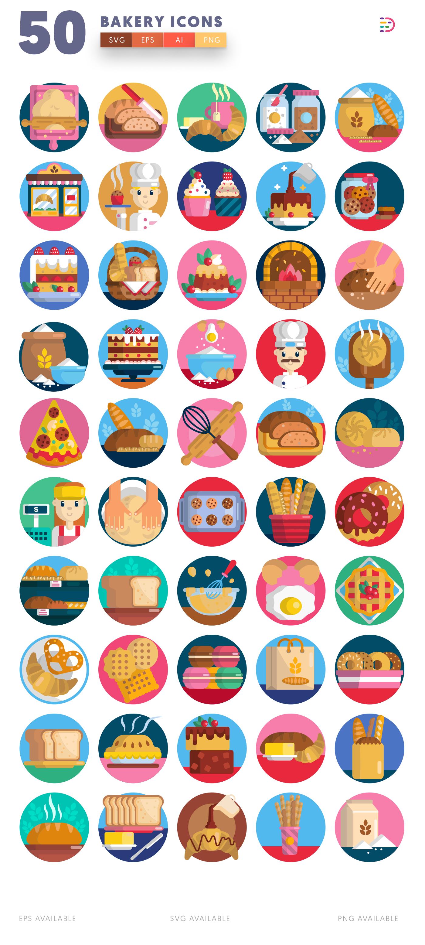 50 Bakery Icons list