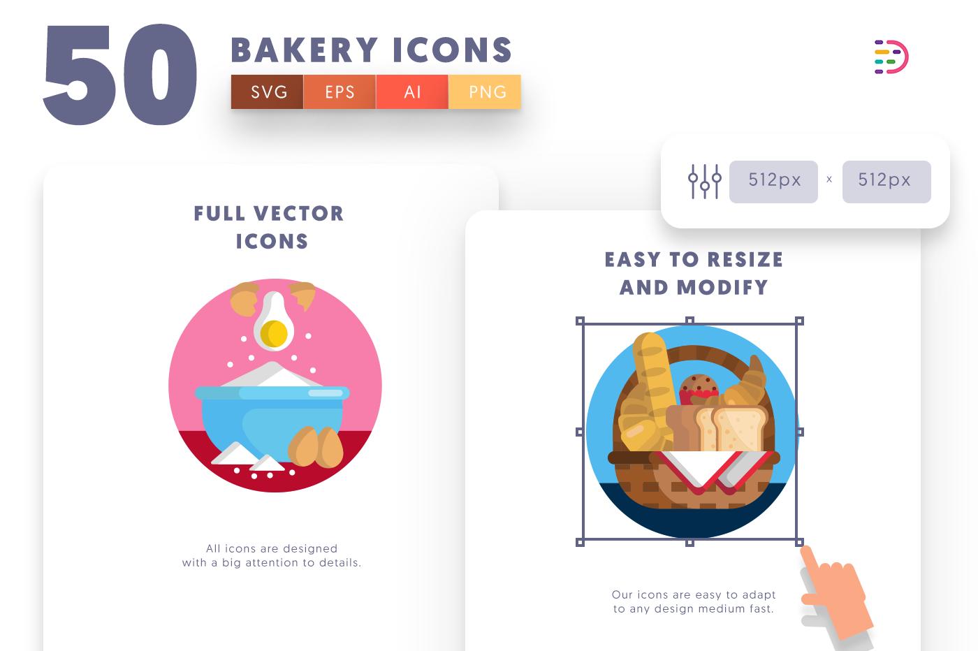 Full vector 50 Bakery Icons