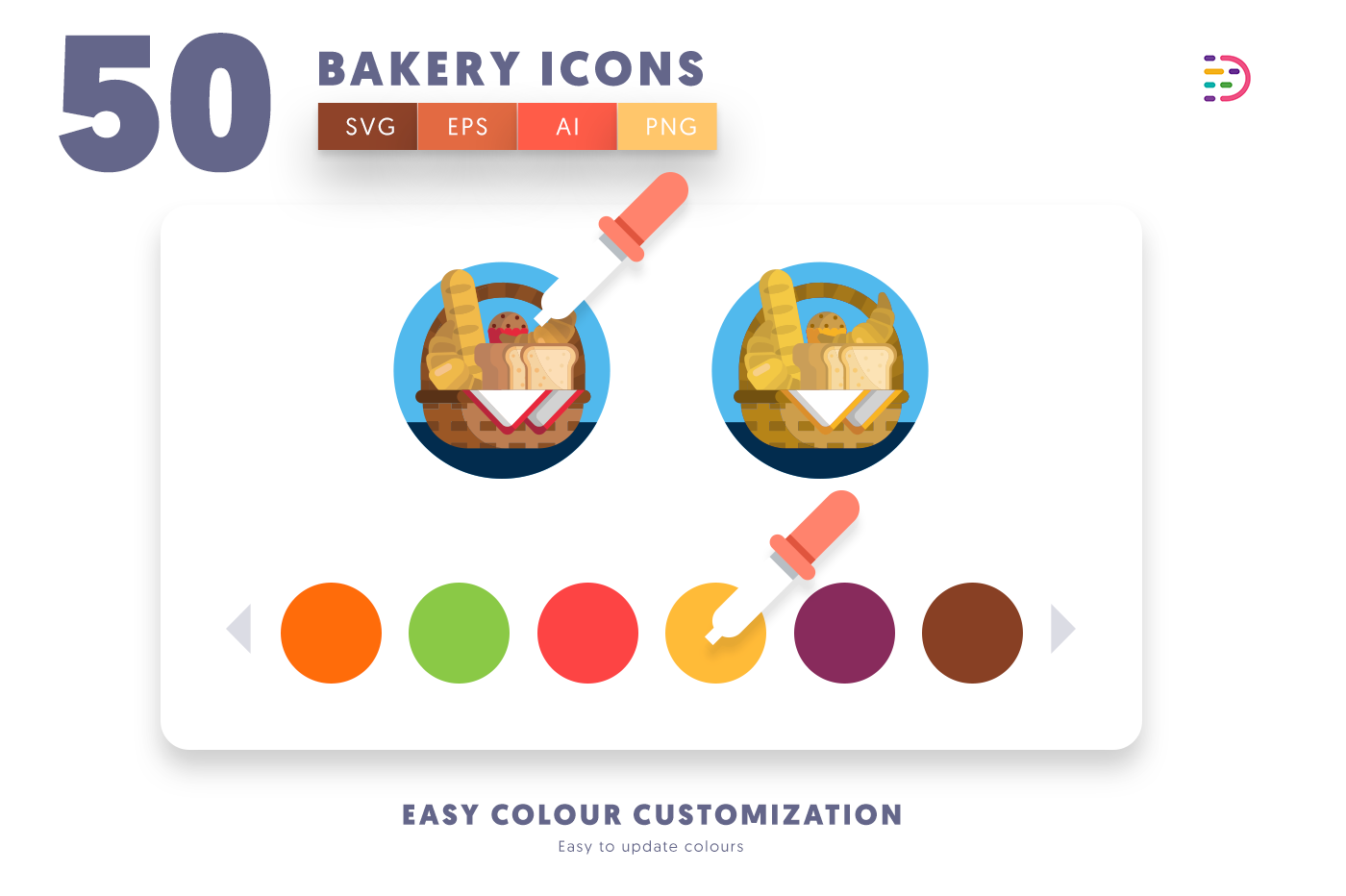 Customizable and vector 50 Bakery Icons