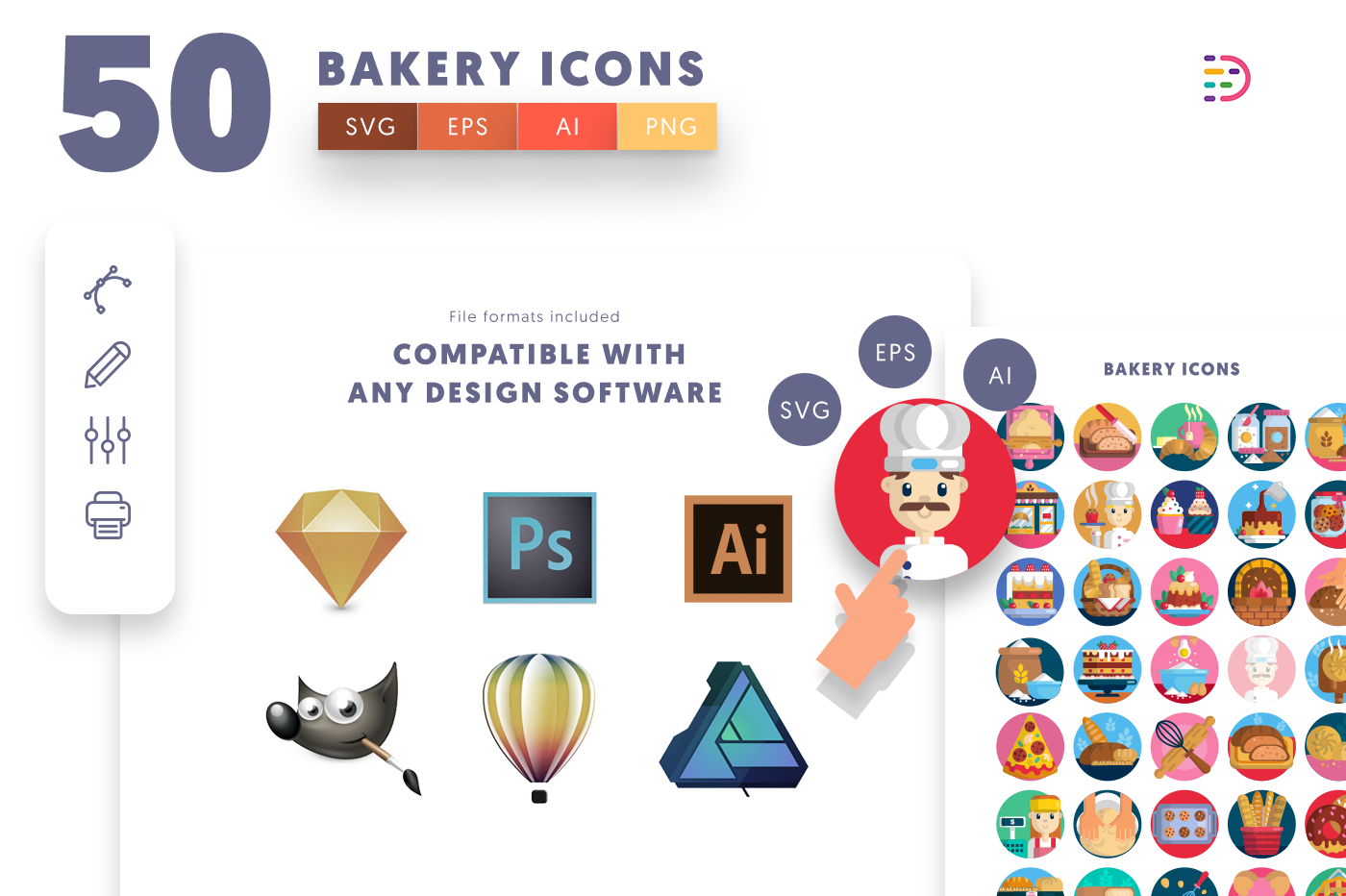 EPS, SVG, PNG full vector 50 Bakery Icons