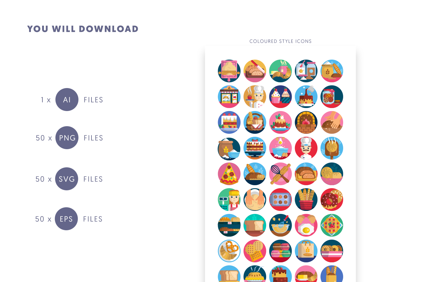 Compatible 50 Bakery Icons pack