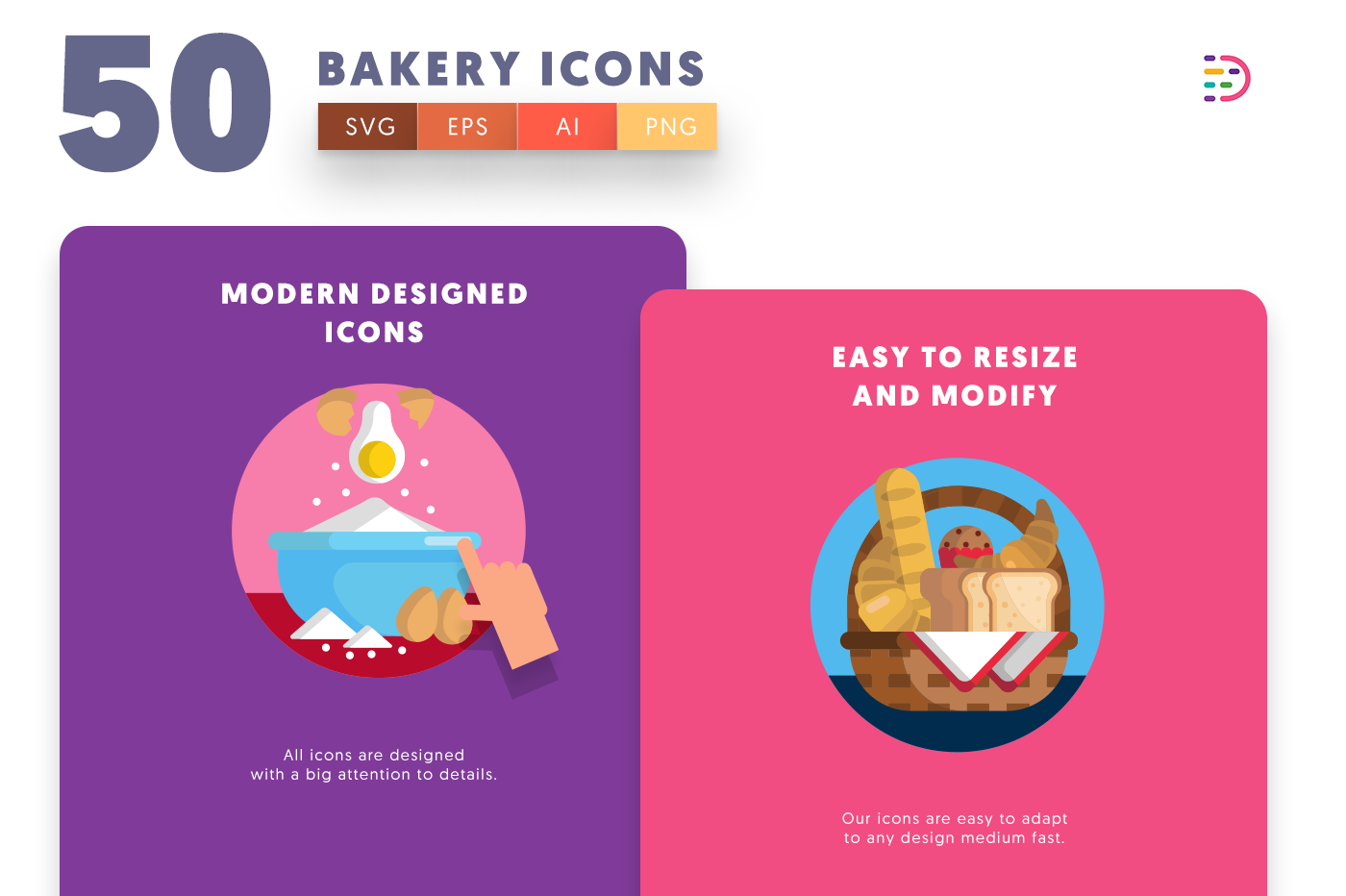 Design ready 50 Bakery Icons