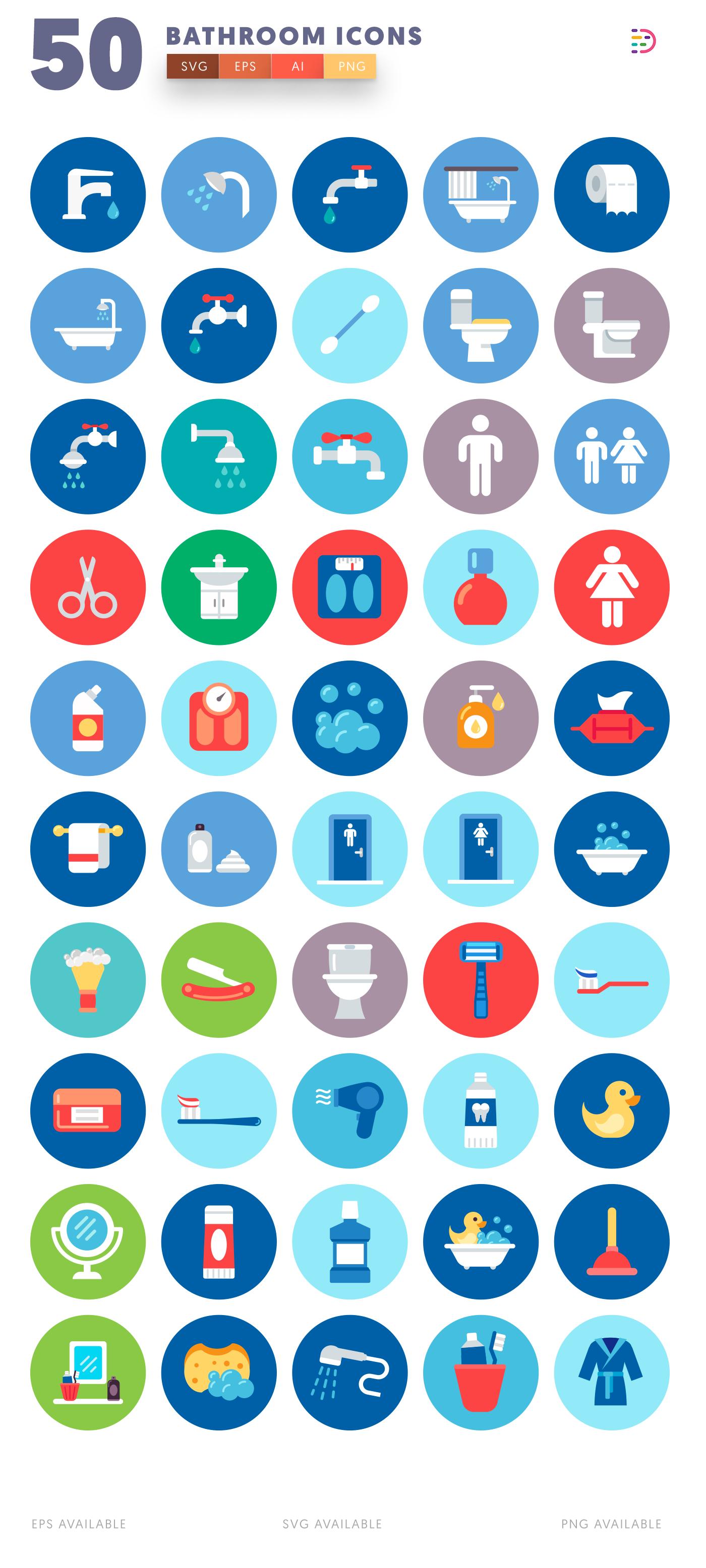 50 Bathroom Icons list