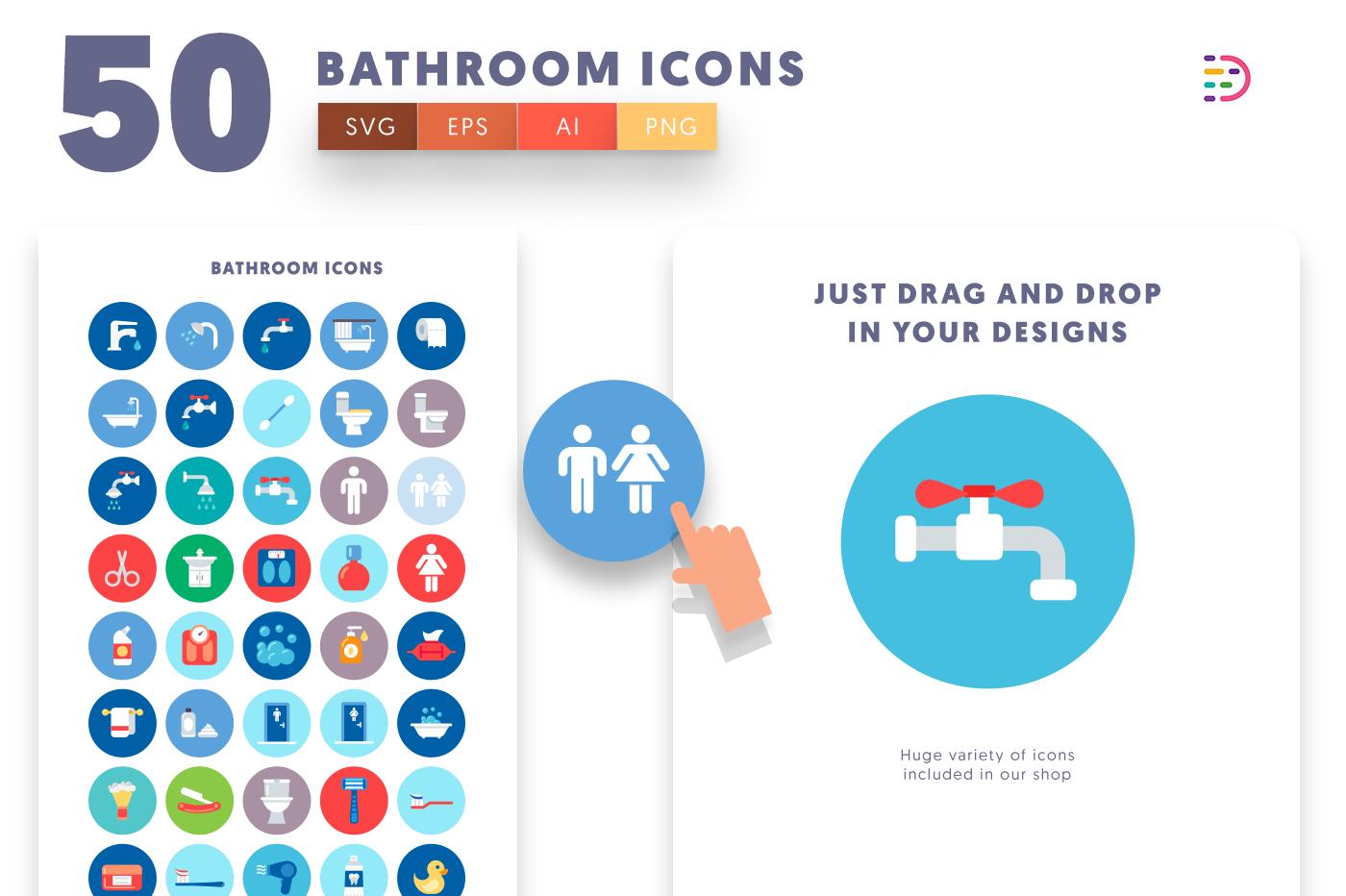 Drag and drop vector 50 Bathroom Icons