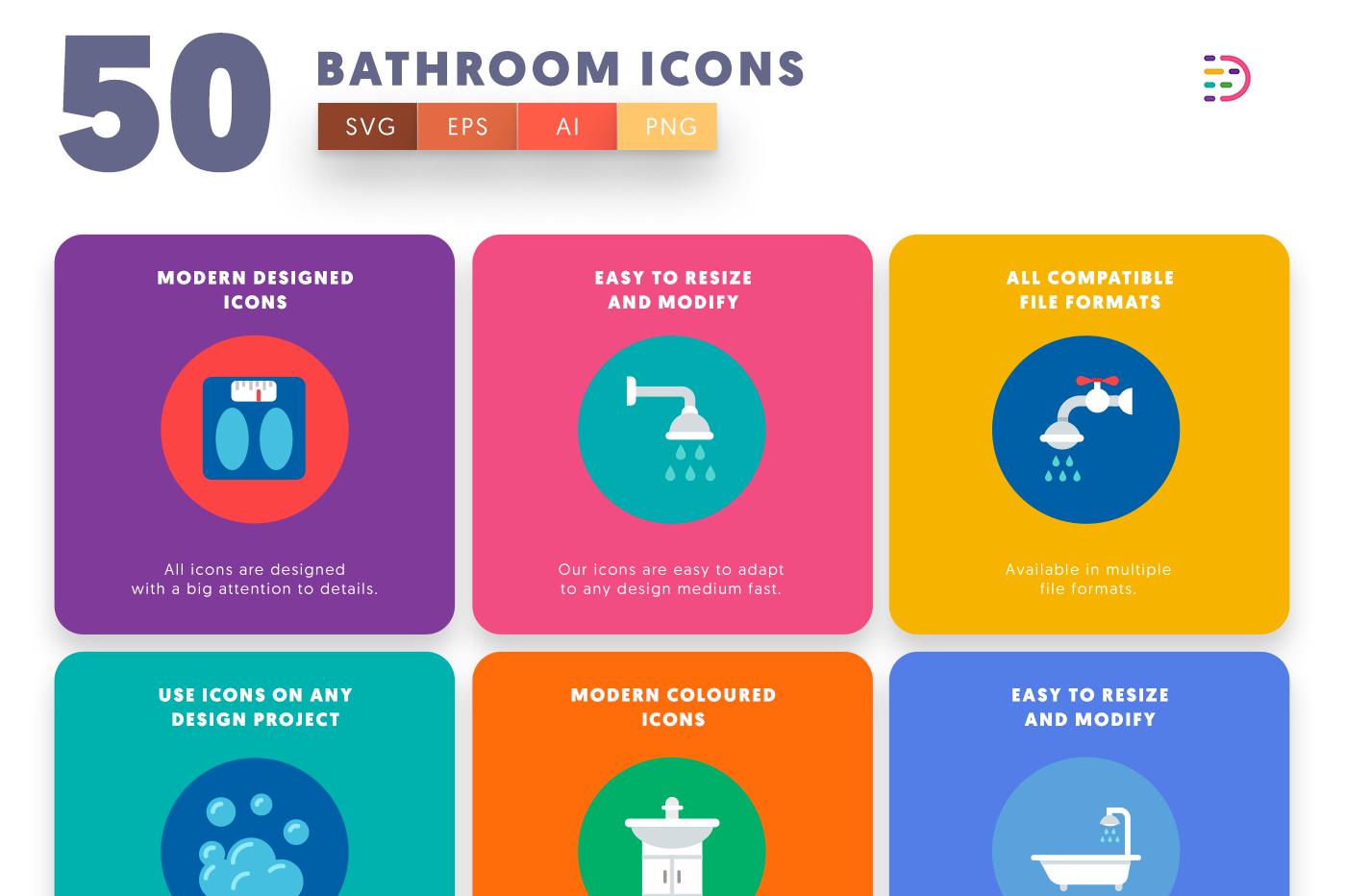 Customizable and vector 50 Bathroom Icons