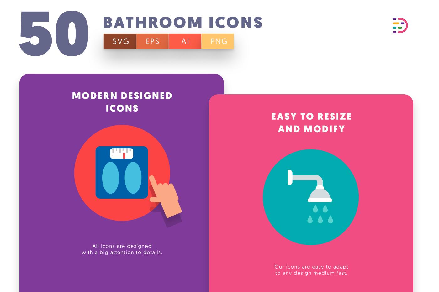 Design ready 50 Bathroom Icons
