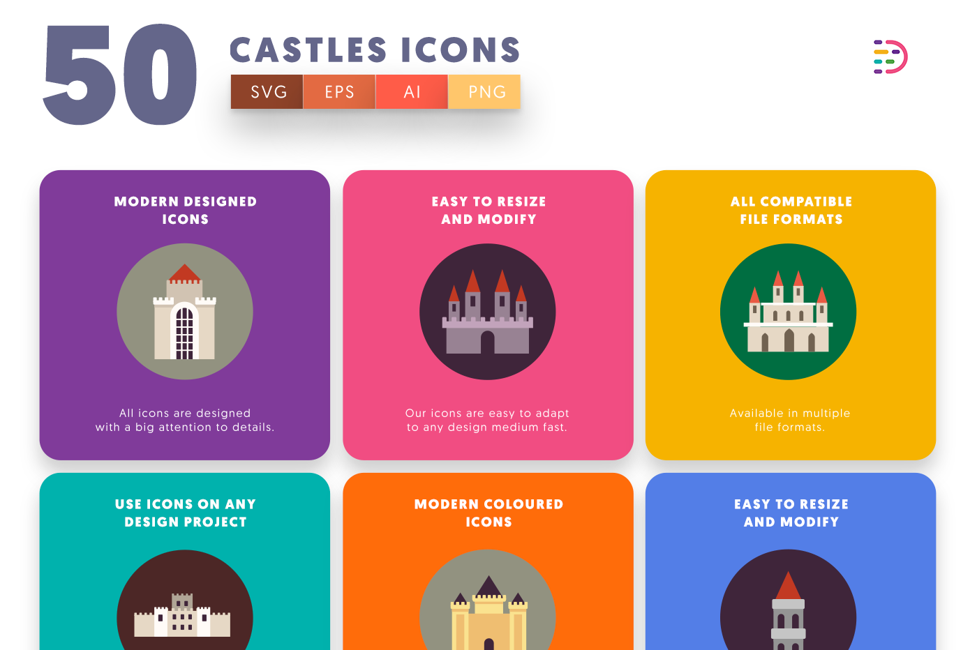 Full vector 50 Castle Icons