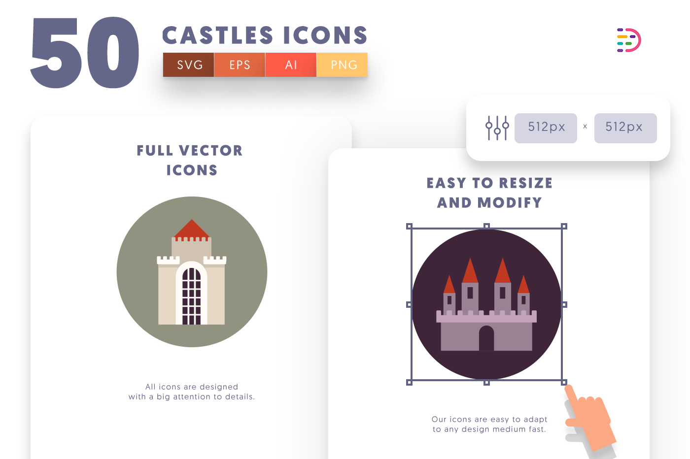 Customizable and vector 50 Castle Icons