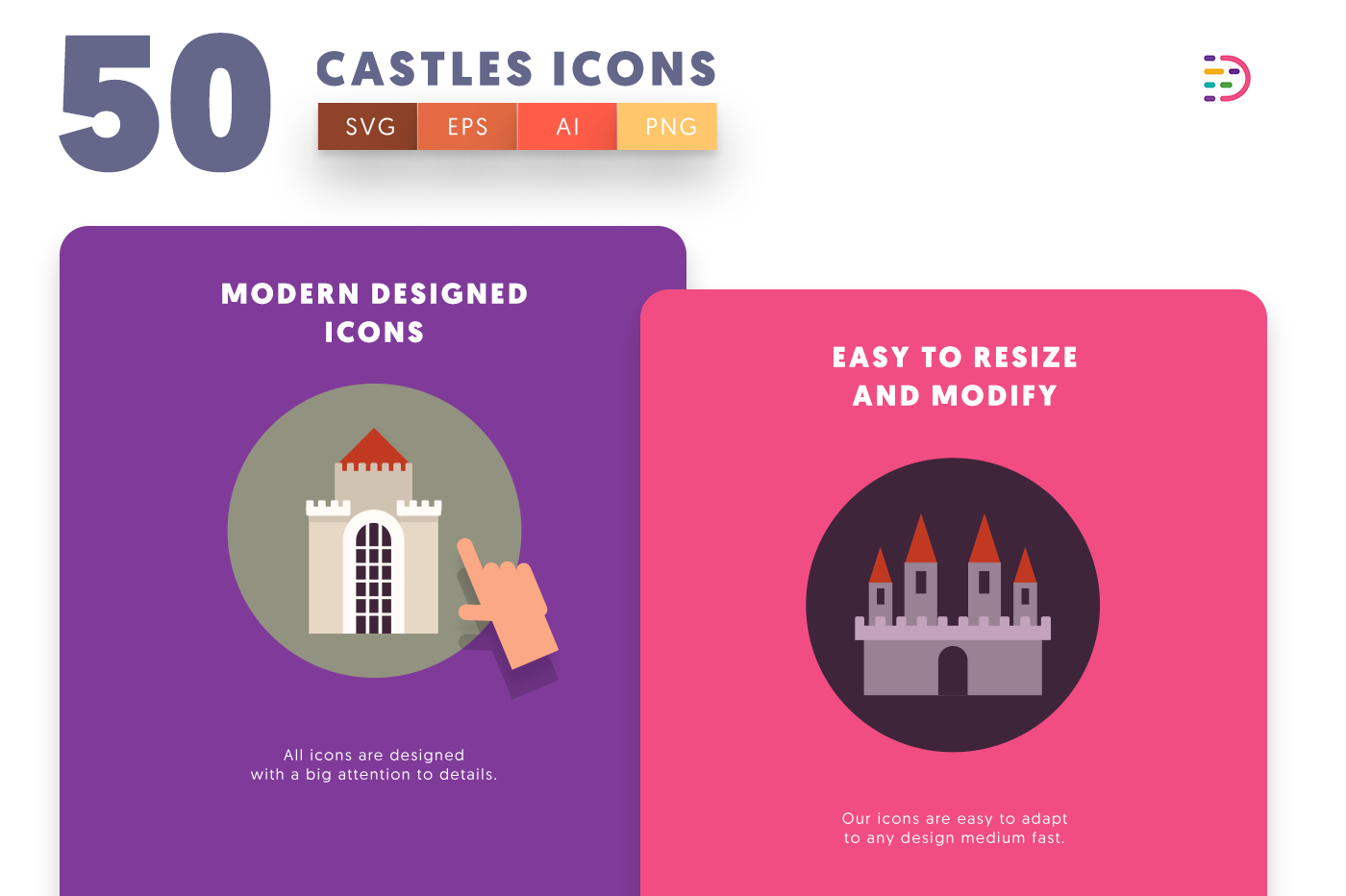 Design ready 50 Castle Icons