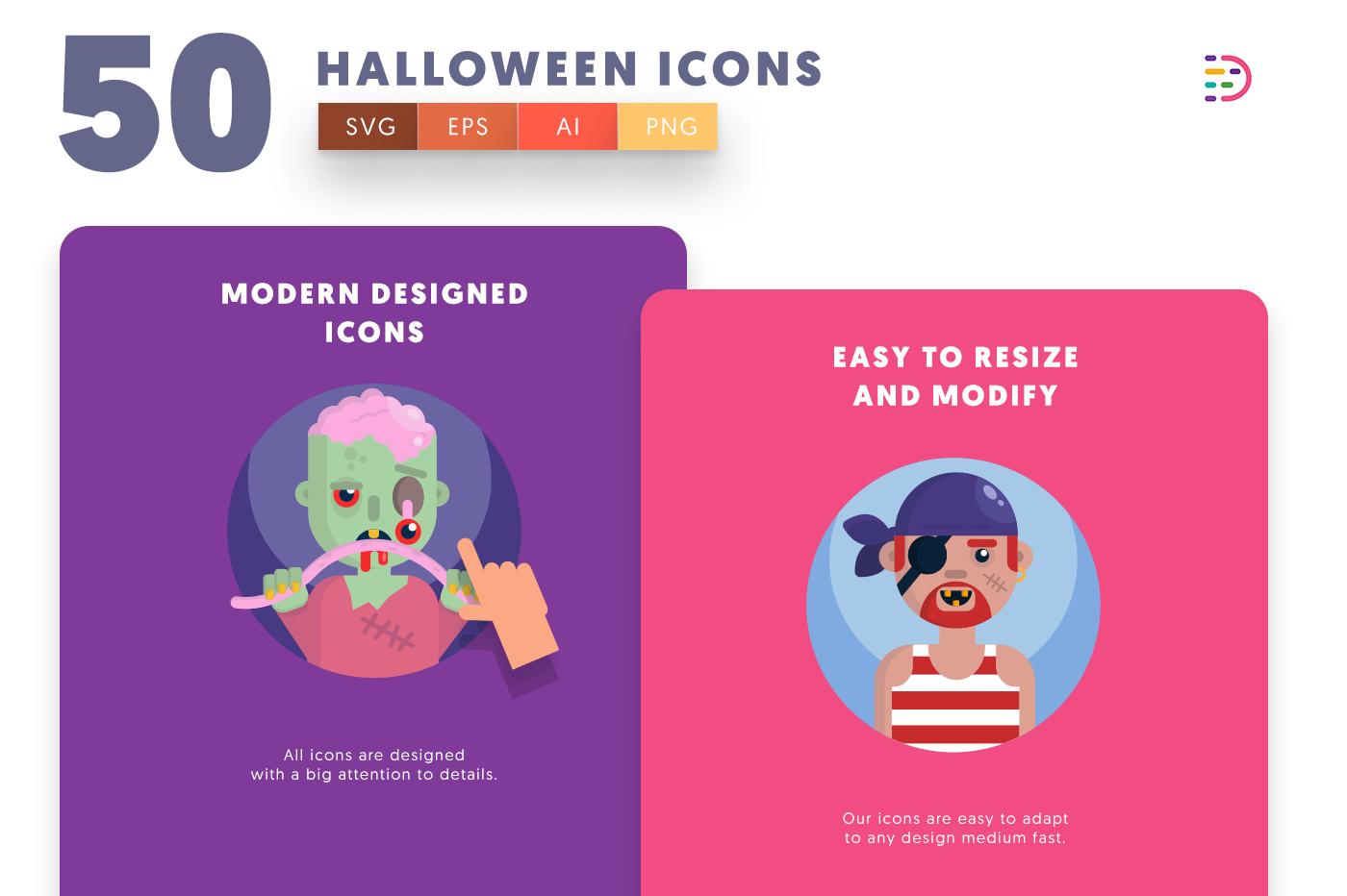 Design ready 50 Halloween Icons