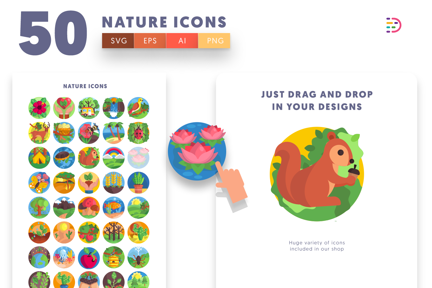 Drag and drop vector 50 Nature Icons
