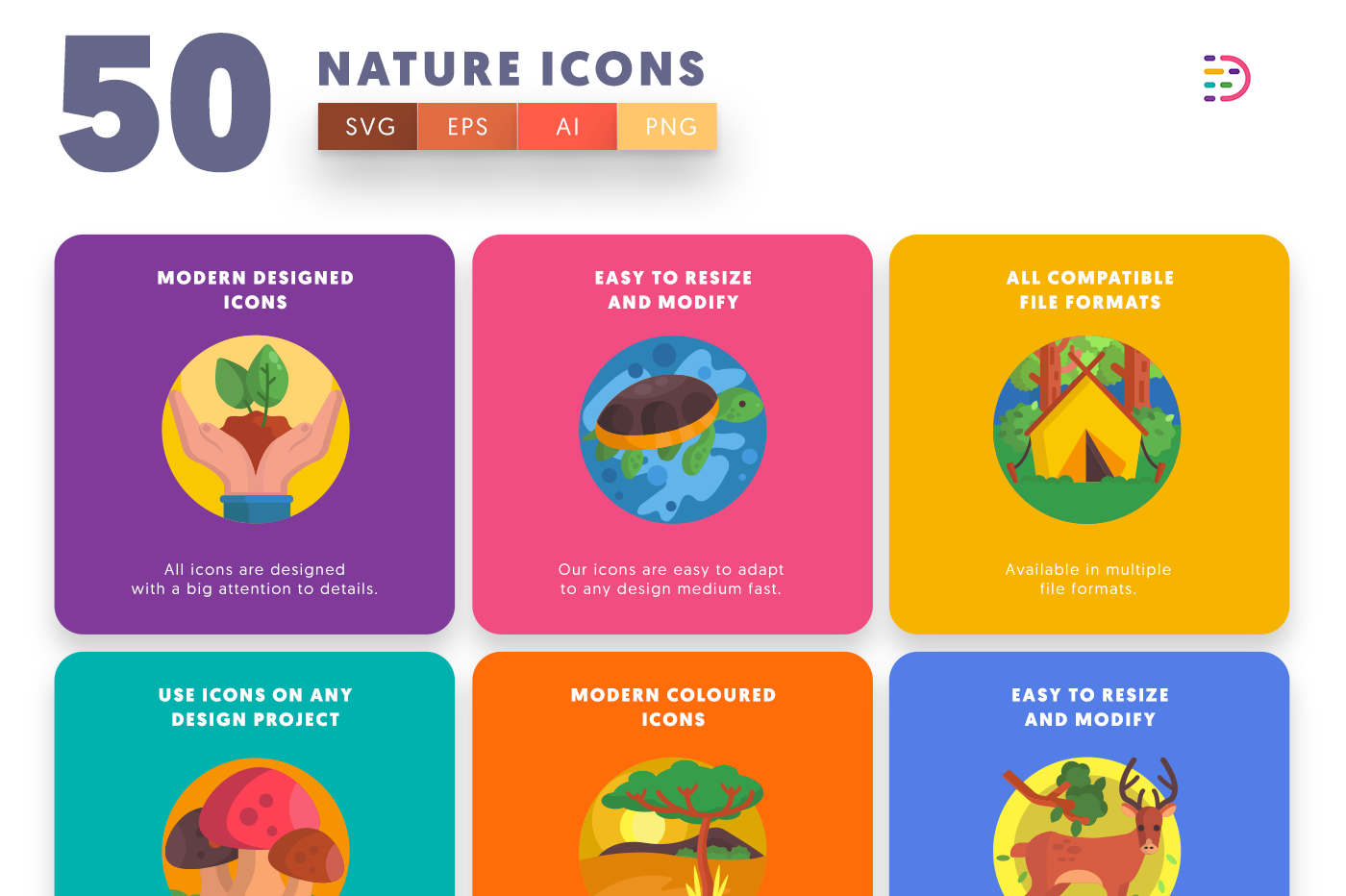 50 Nature Icons with colored backgrounds