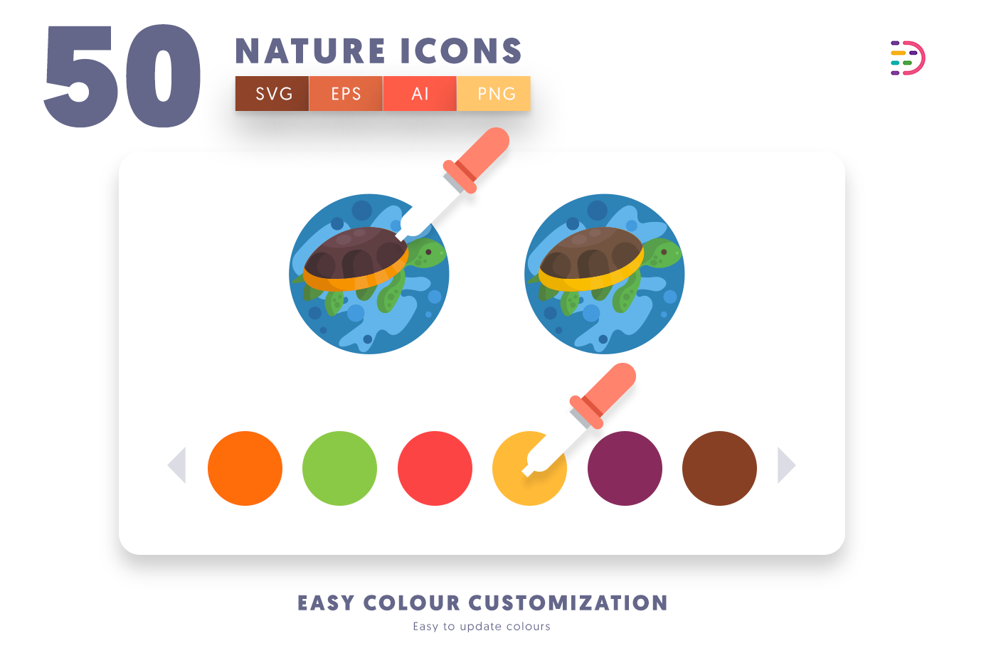 Customizable and vector 50 Nature Icons