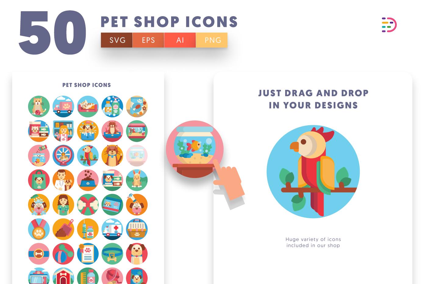 Drag and drop vector 50 Petshop Icons