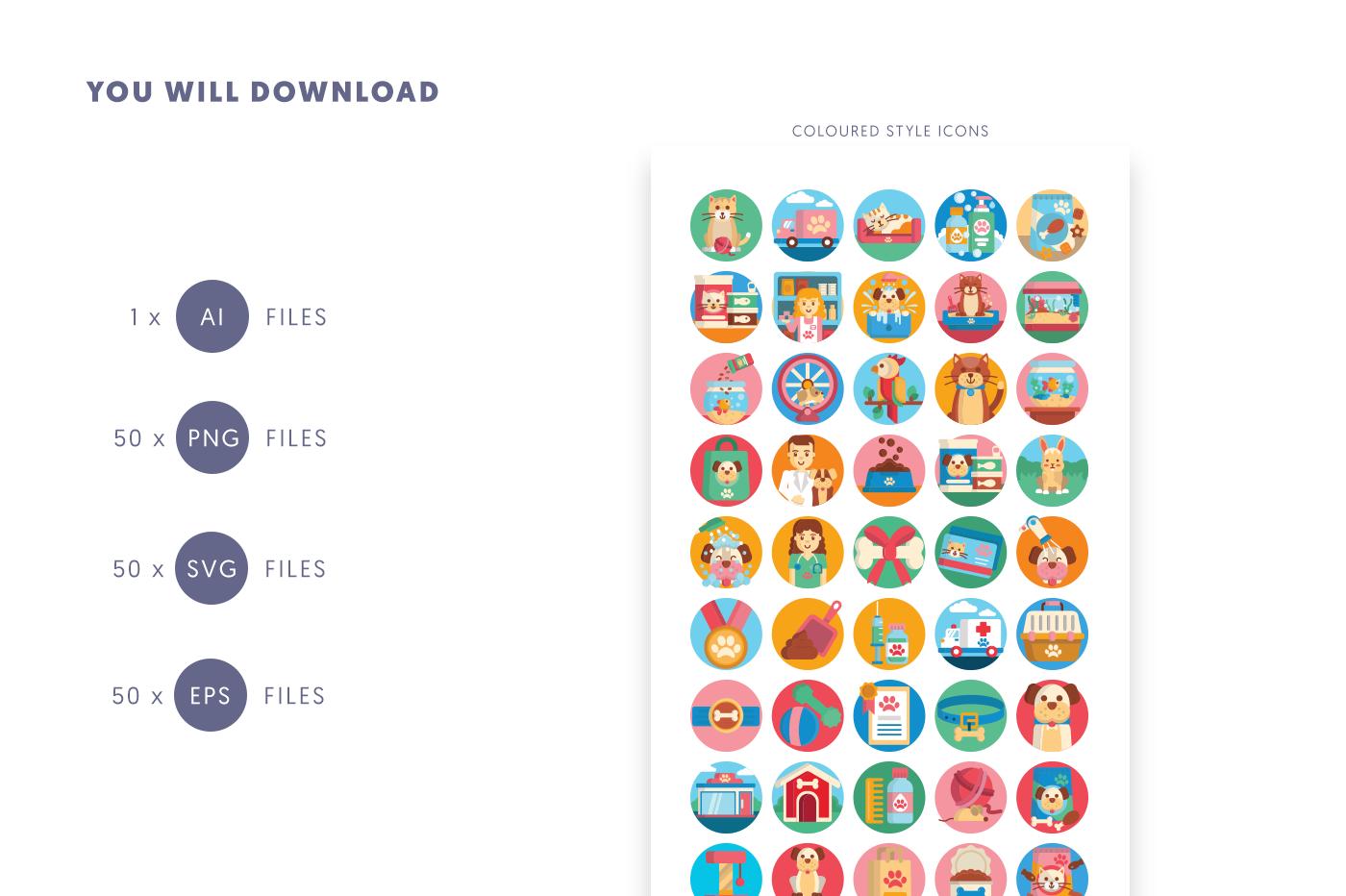Compatible 50 Petshop Icons pack