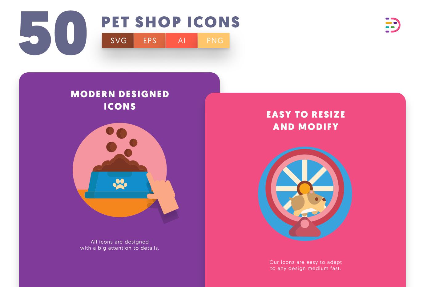Design ready 50 Petshop Icons