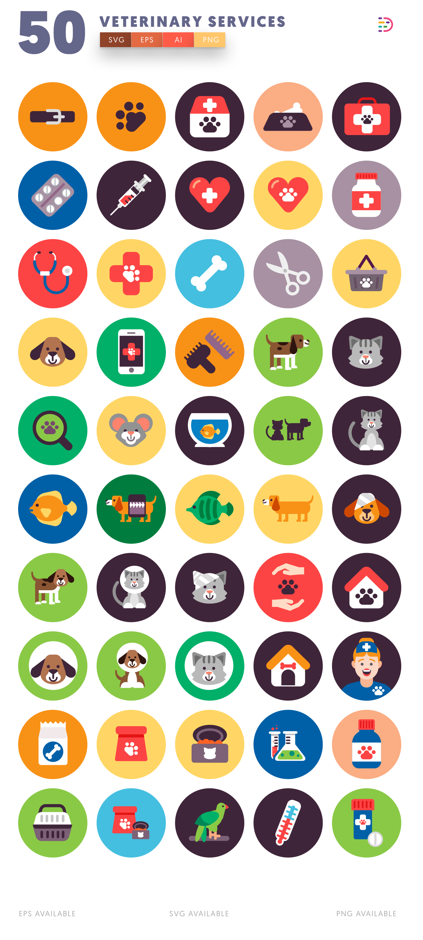 Design ready 50 Veterinary Icons list