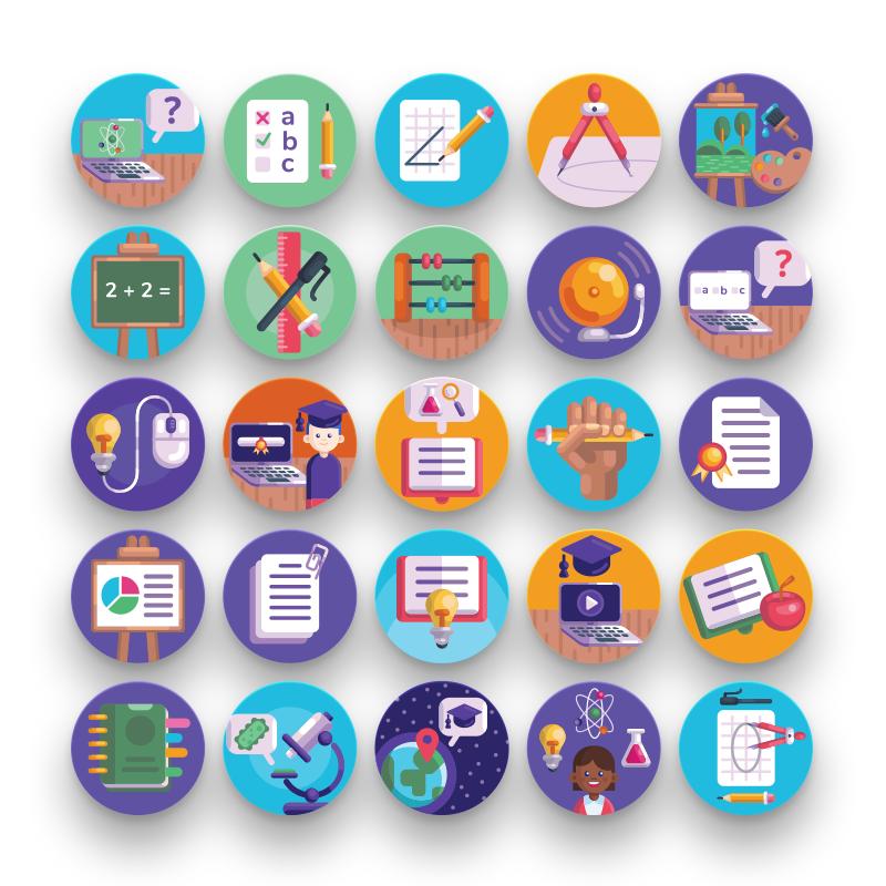 50 School Icons flat design
