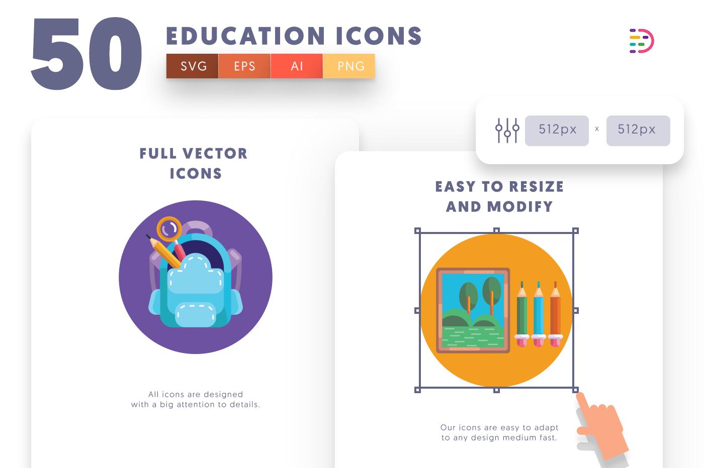 Full vector 50School Icons
