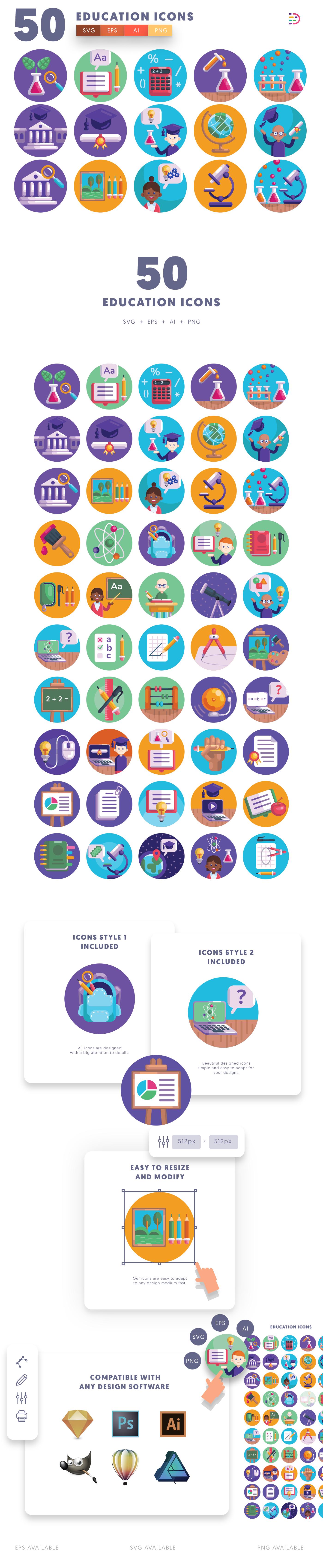 School icons info graphic