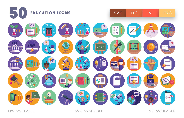 50 School Flat Icons