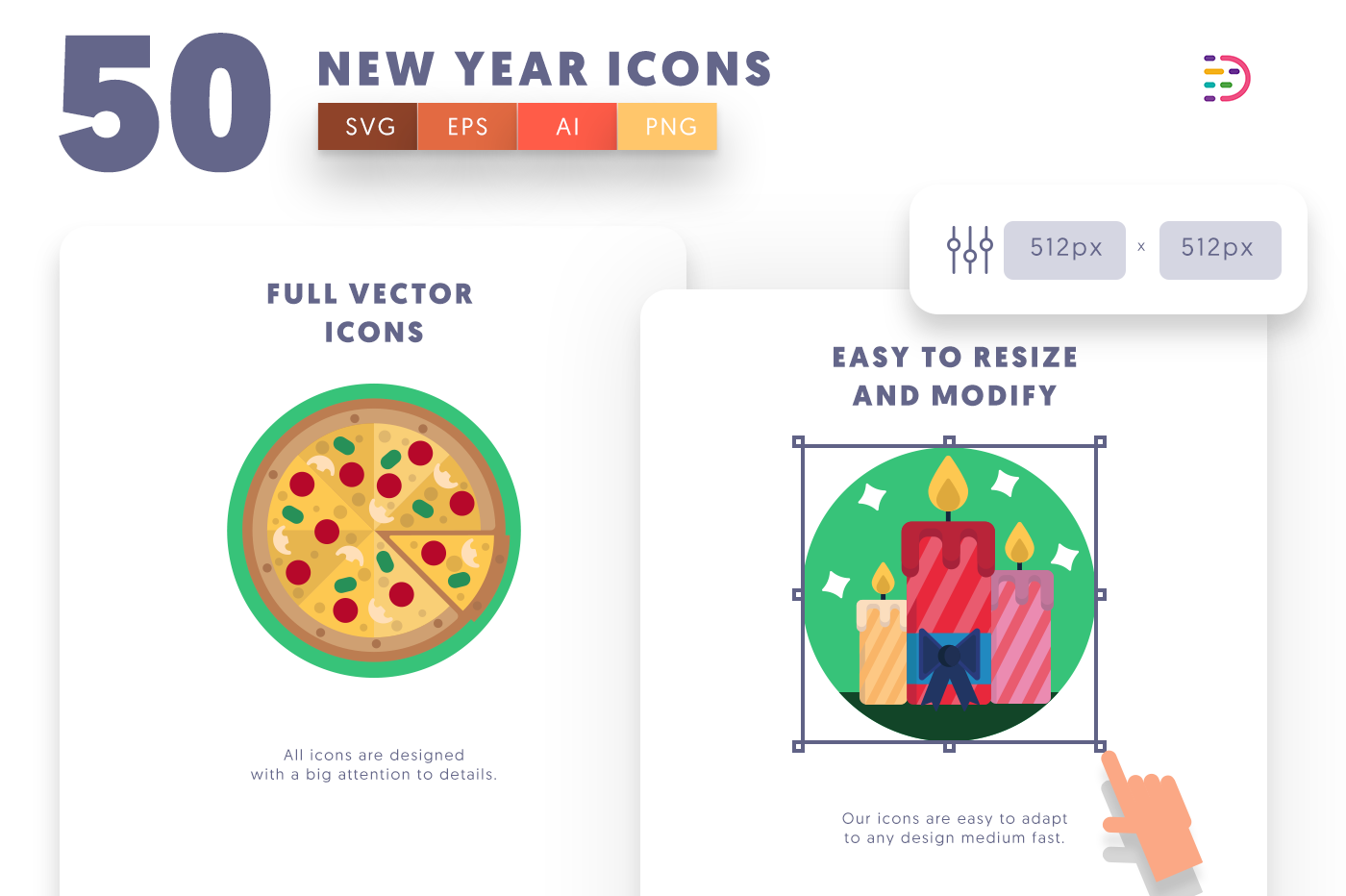 Full vector 50 New Year Icons