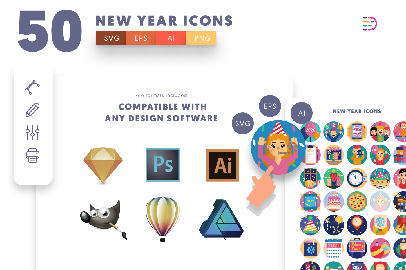 EPS, SVG, PNG full vector 50 New Year Icons