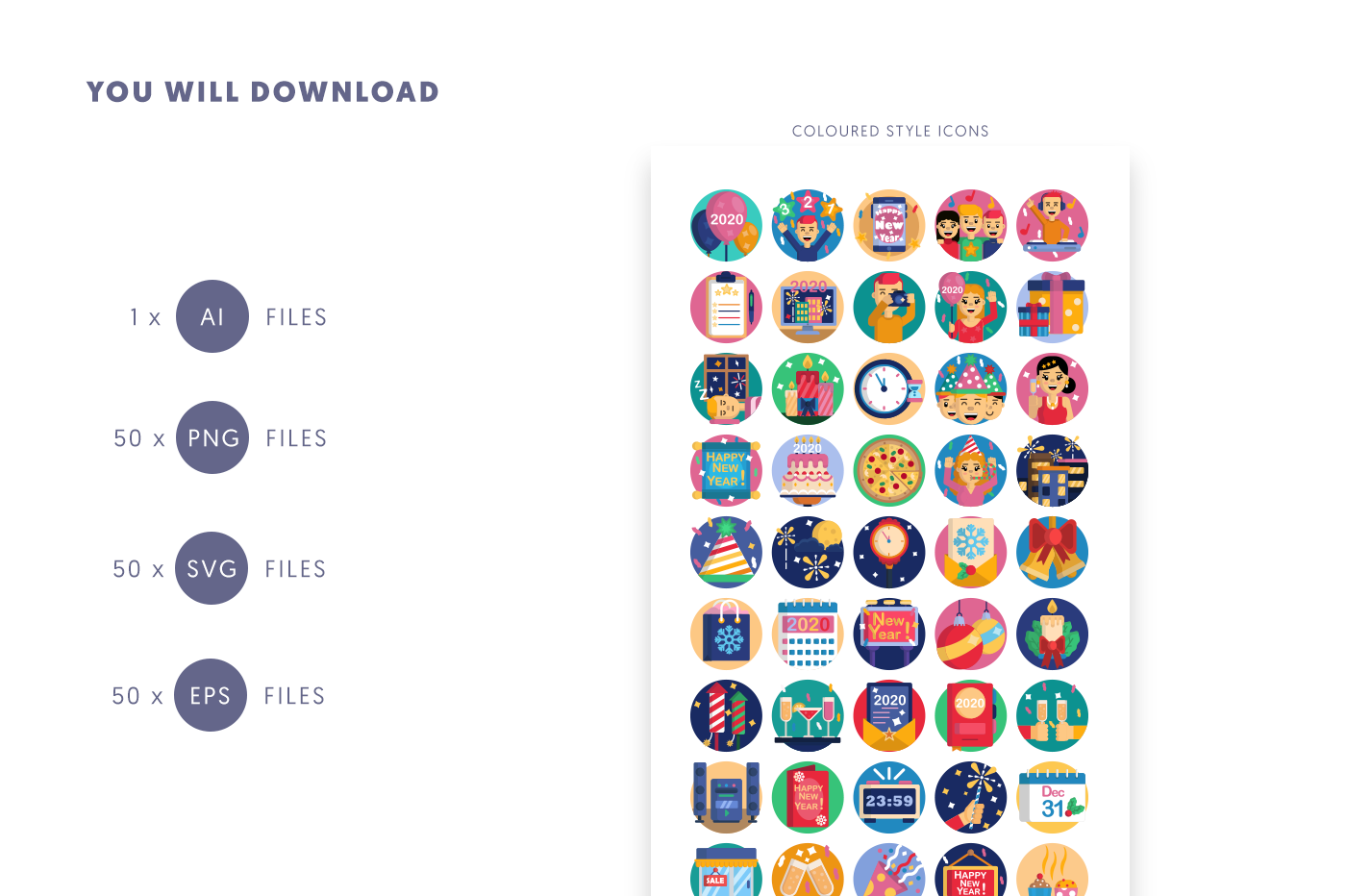 Compatible 50 New Year Icons pack