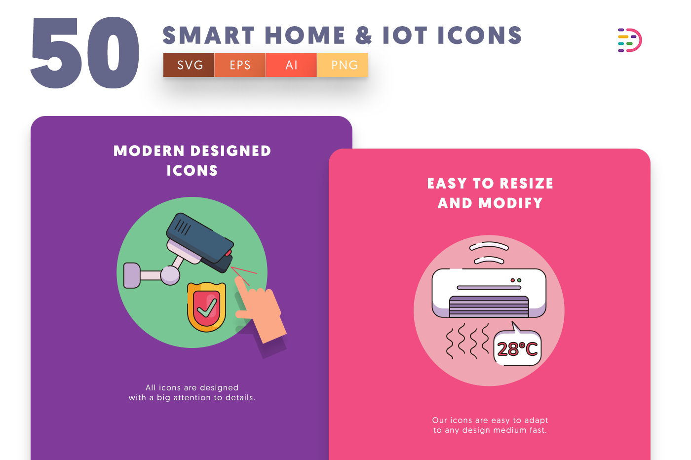 Design ready 50 Smart home & IoT Icons