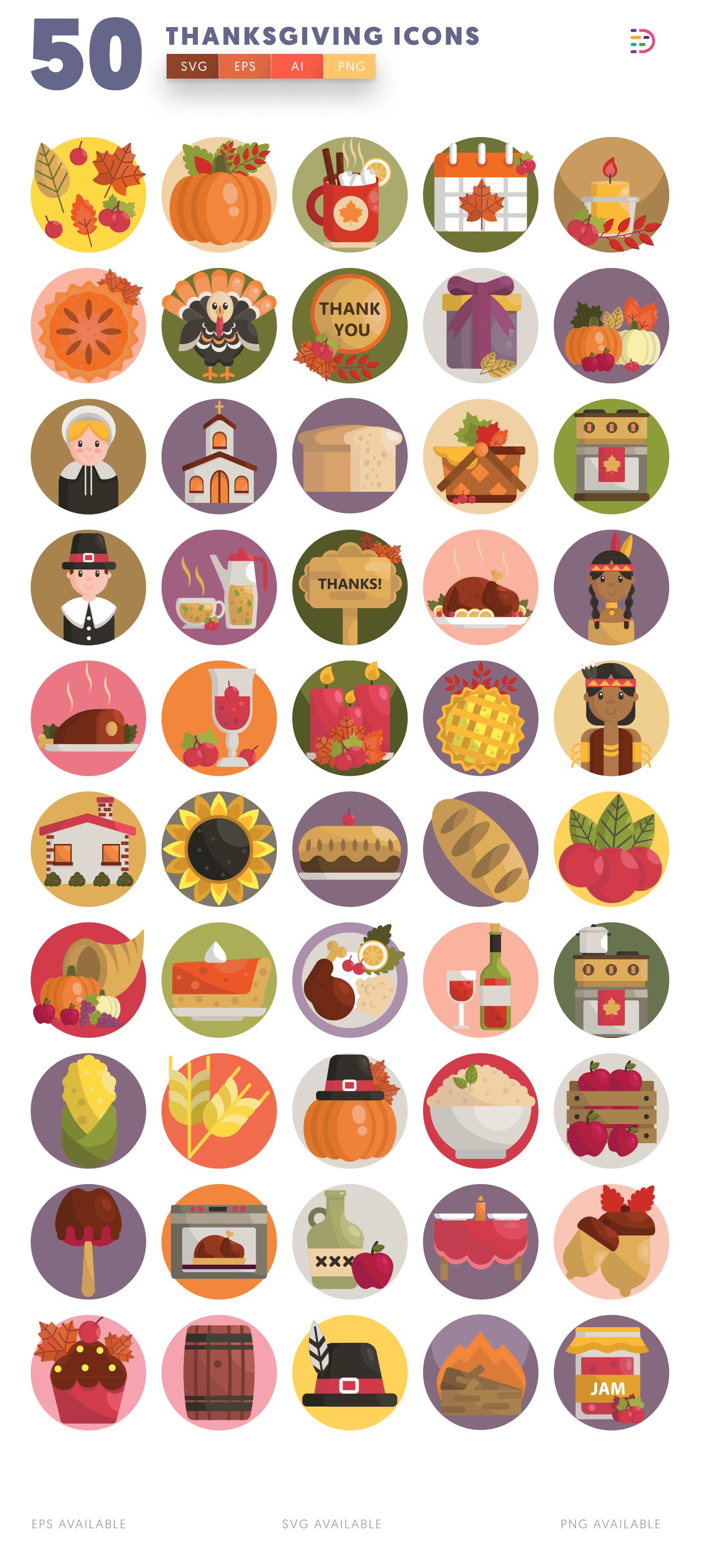 50 Thanksgiving Icons list