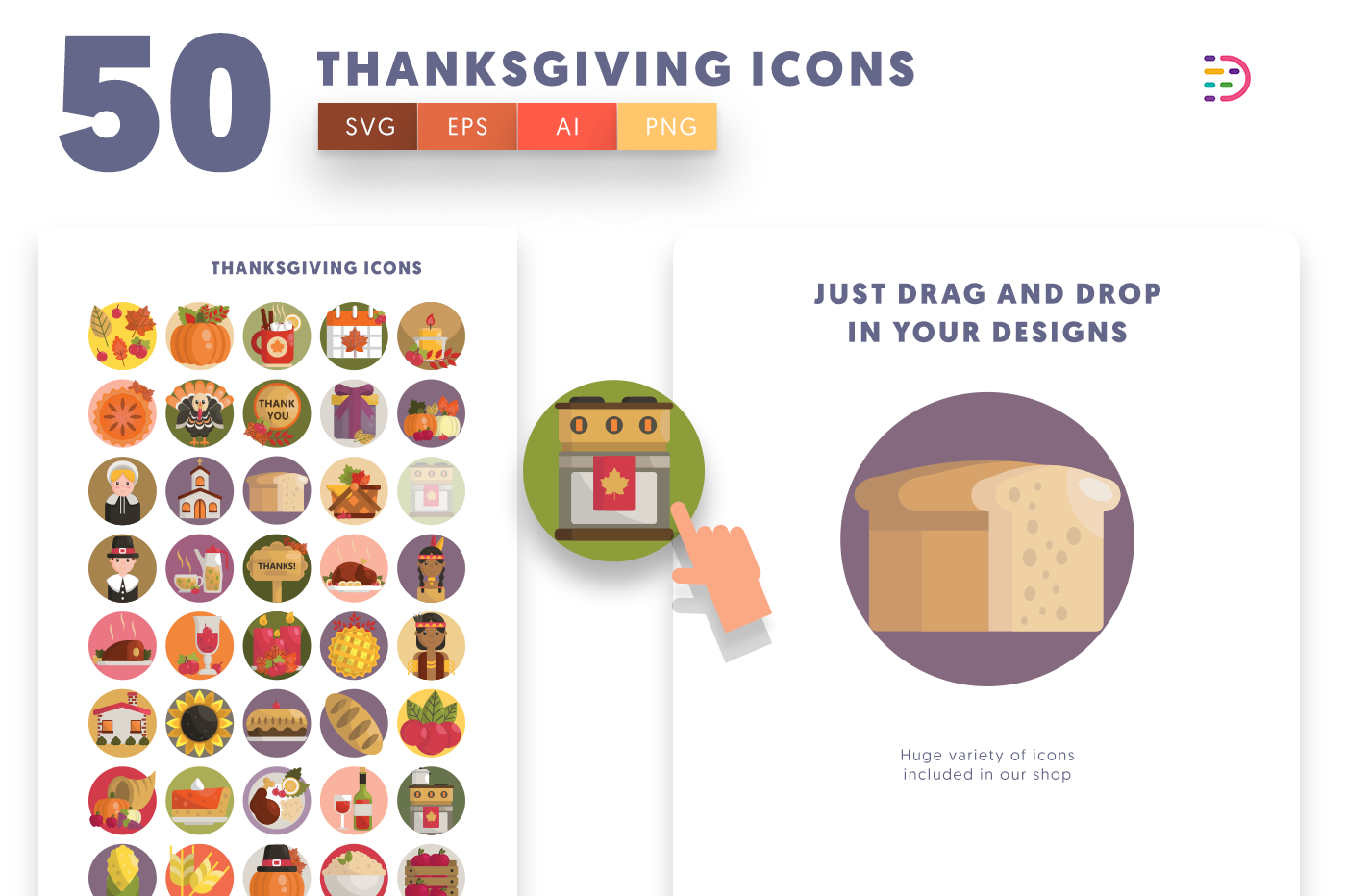 Drag and drop vector 50 Thanksgiving Icons