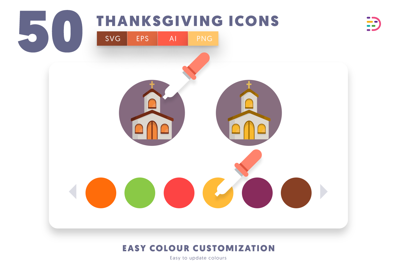 Customizable and vector 50 Thanksgiving Icons