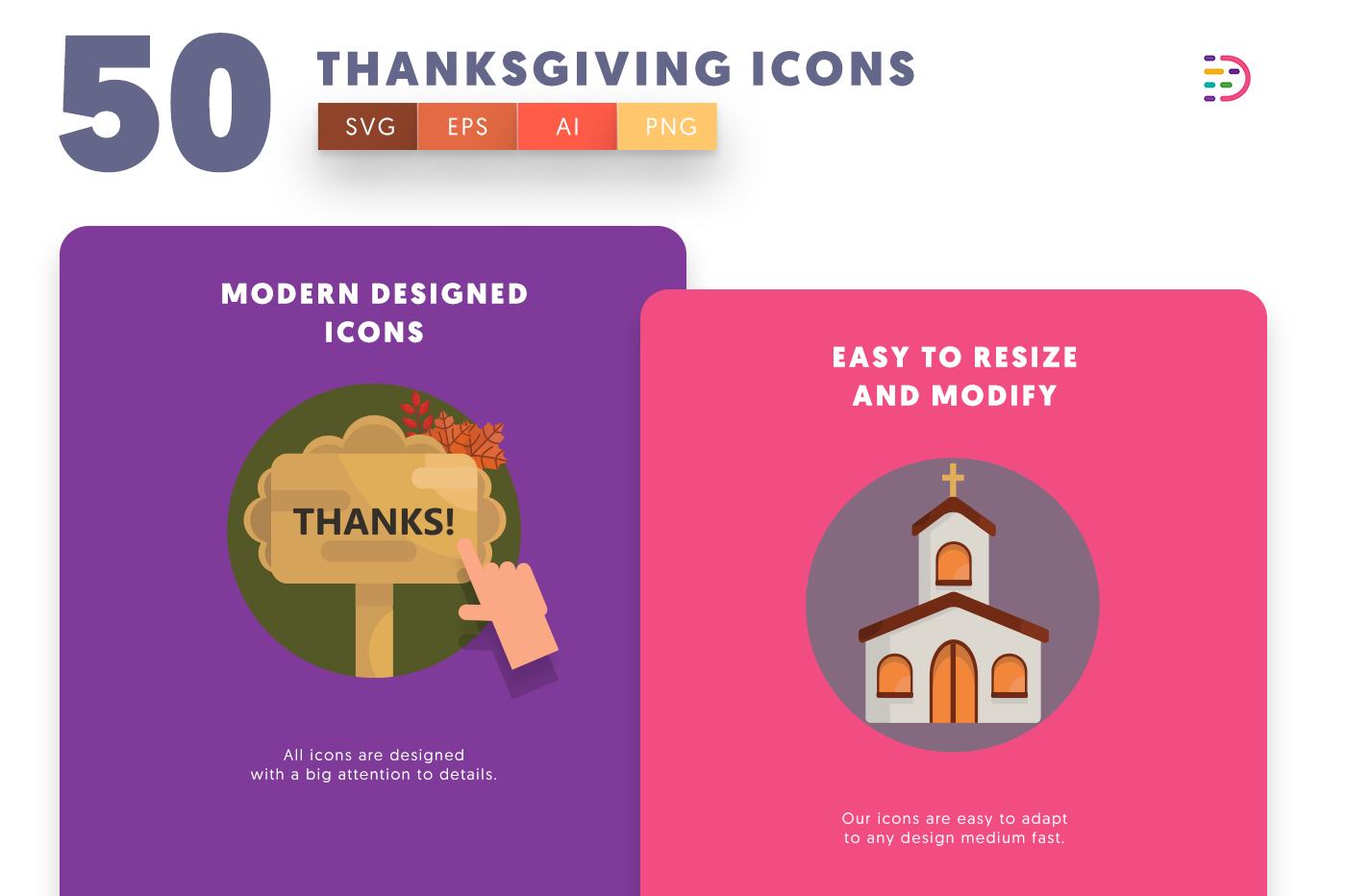 Design ready 50 Thanksgiving Icons