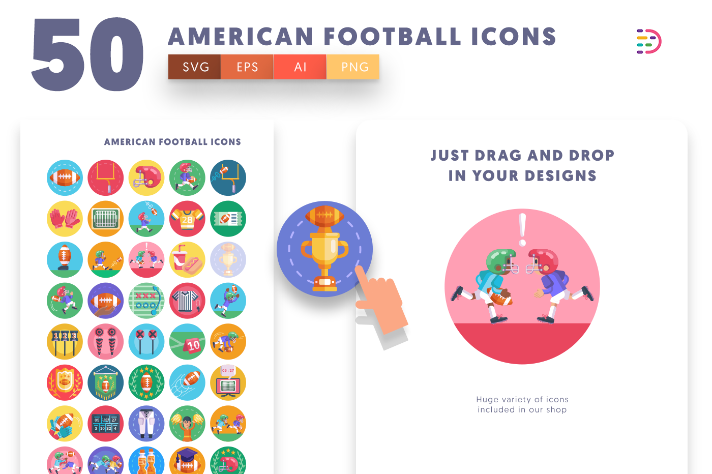 Drag and drop vector 50 American Football Icons