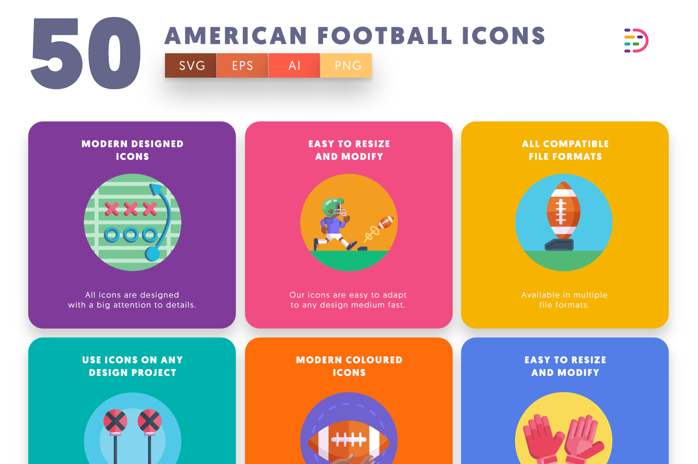 50 American Football Icons with colored backgrounds