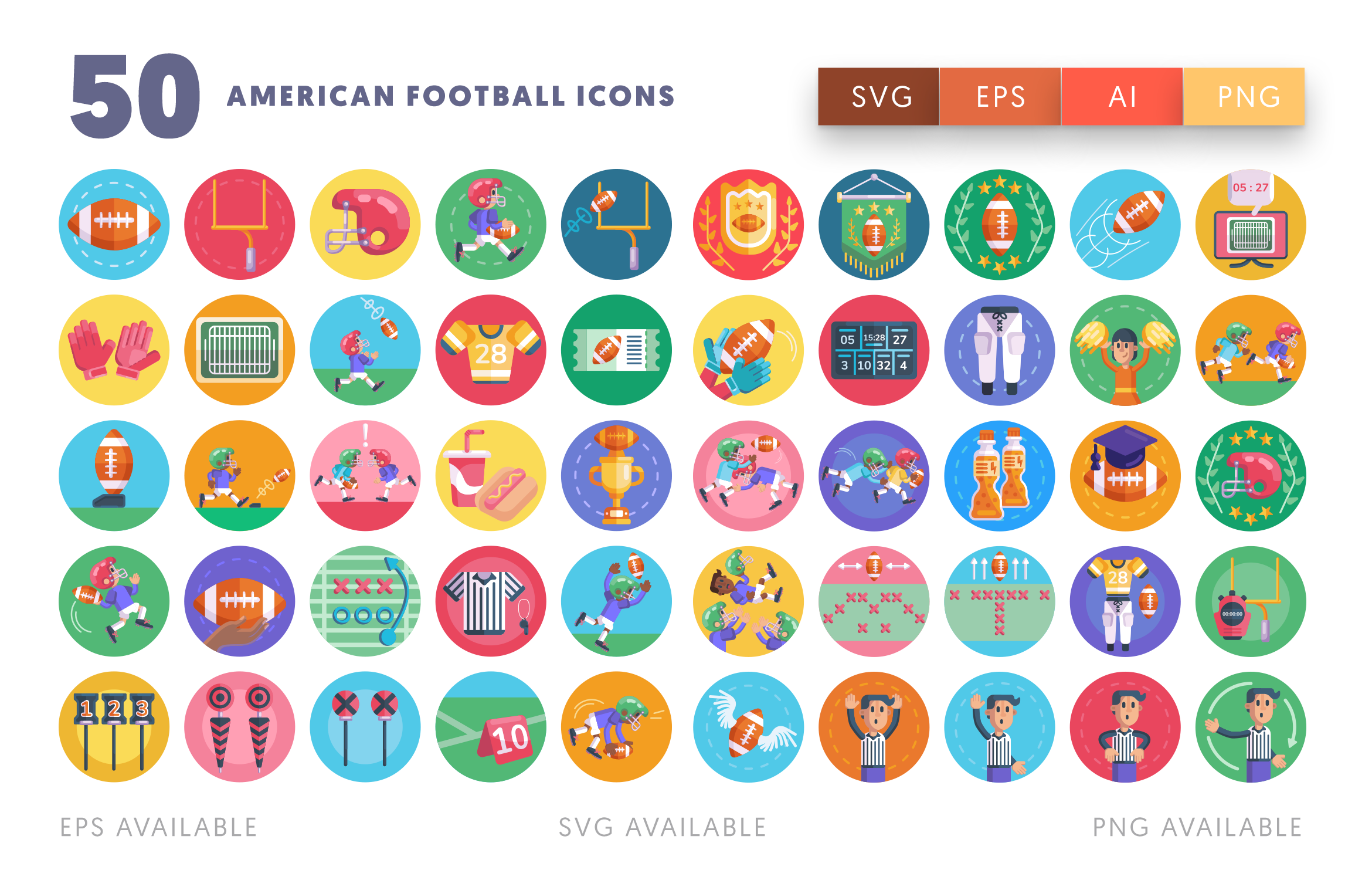 American Football icons png/svg/eps