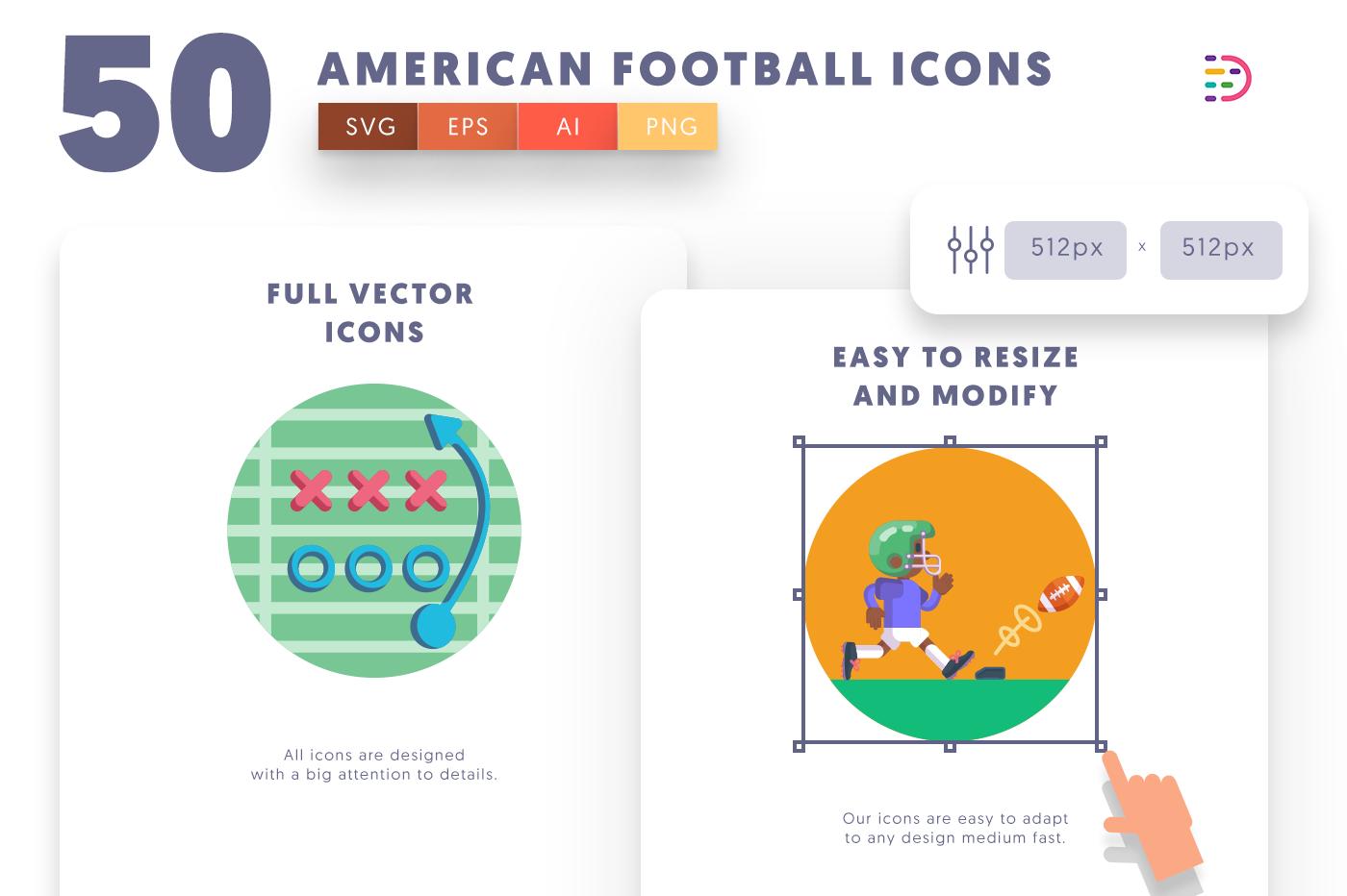 Full vector 50Americanfootball Icons