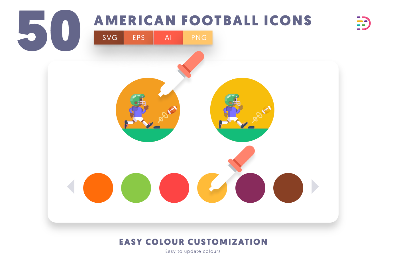 Customizable and vector 50 American Football Icons