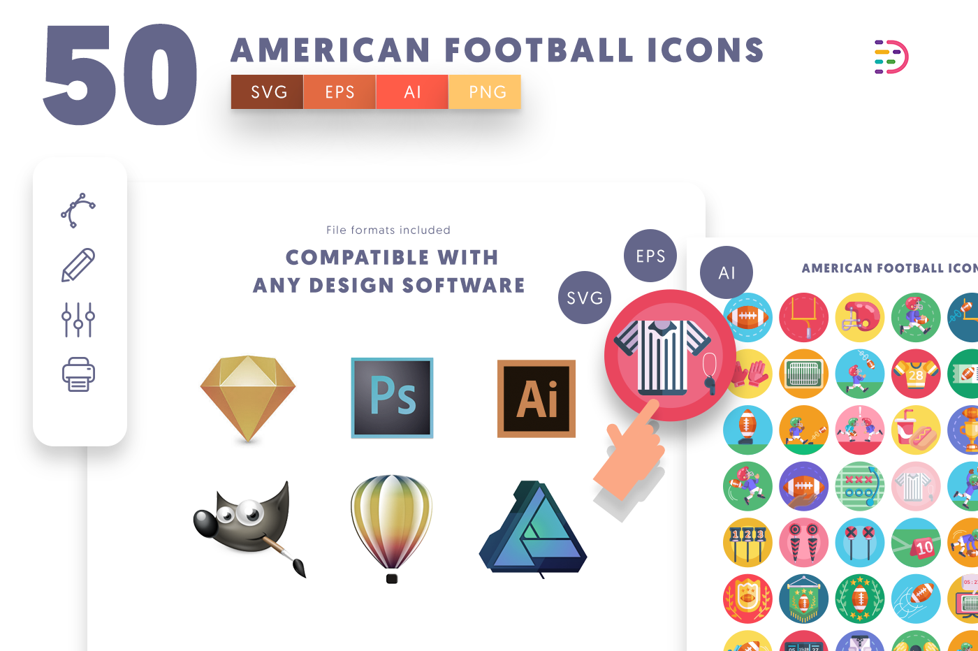 full vector 50 American Football Icons EPS, SVG, PNG