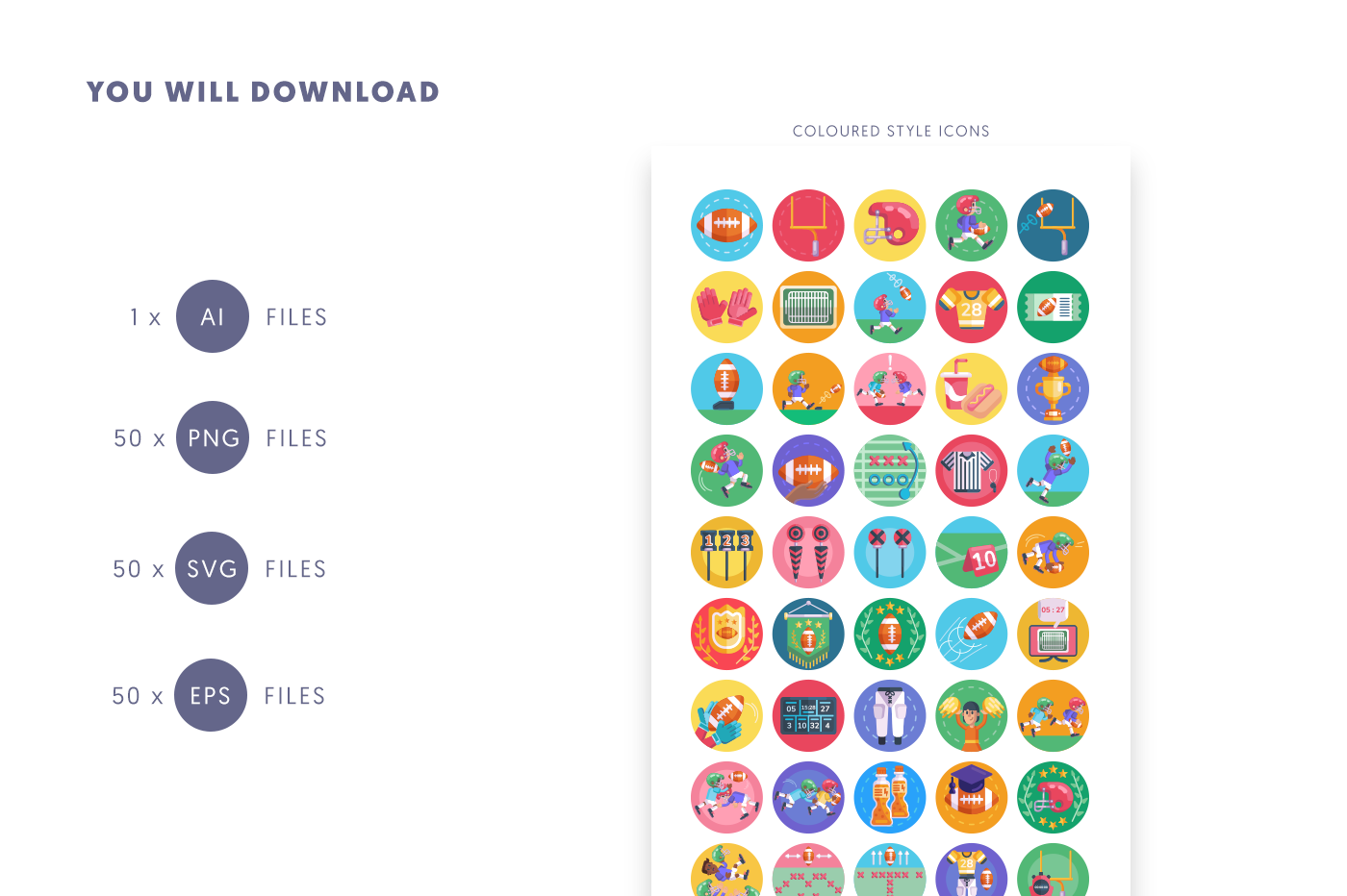 Compatible 50 American Football Icons pack
